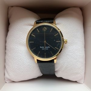 Kate Spade Watch Black Leather Gold Hardware NWT